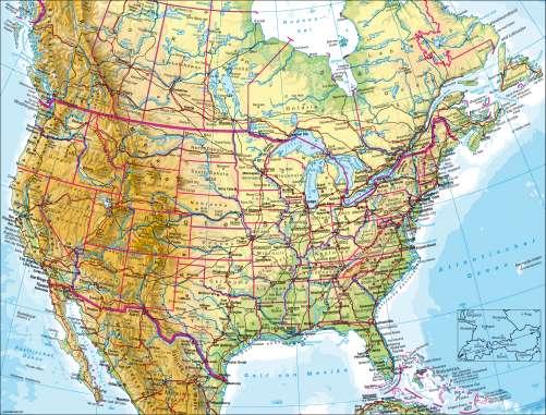Diercke Weltatlas Kartenansicht Vereinigte Staaten Von Amerika Usa Kanada Physisch