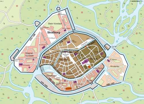 Maps Medieval Strasbourg 14th15th century Diercke