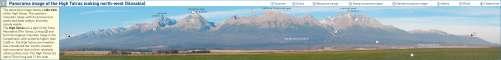 Diercke Karte Panorama image of the High Tatras looking north-west (Slovakia)