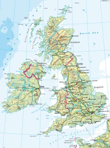 British Isles Physical Map Diercke Karte British Isles