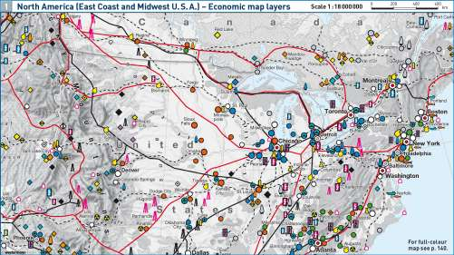 Maps North America East Coast And Midwest USA Economic - Midwest usa map