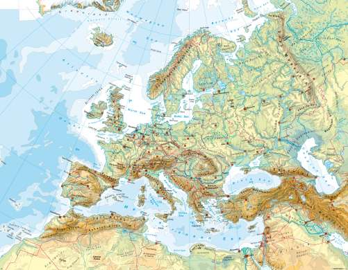 mountains of Topographical with map europe