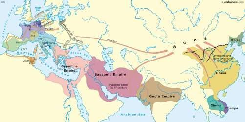 Diercke Karte Invasions and empires (before the death of Theoderic in 526)