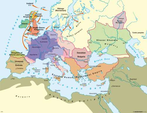 Diercke Karte Europe at the end of Charlemagne's reign circa 814