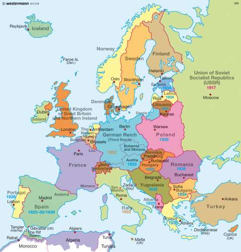 map of europe before ww2 Maps   Europe before World War Two (1939)   Diercke International