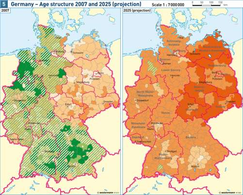 diercke karte germany age structure 2007 and 2025 projection