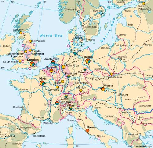 Maps Interconnected Economic Centres Circa 1900 Diercke