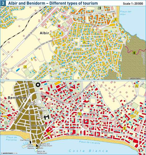 Maps Albir and Benidorm Different types of tourism Diercke