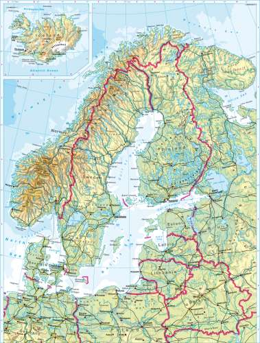Maps - Northern Europe – Physical map - Diercke International Atlas