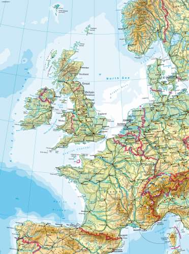 Maps Western Europe Physical Map Diercke International Atlas - Europe physical map
