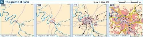 Diercke Karte The growth of Paris