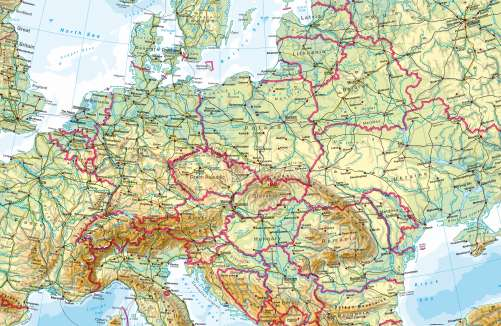 Diercke Karte Central Europe – Physical map