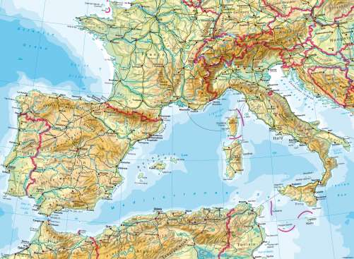 Maps SouthWest Europe Physical Map Diercke International Atlas - Europe physical map