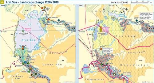 Diercke Karte Aral Sea – Landscape change 1960/2010