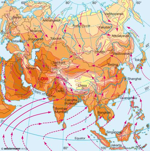 Diercke Karte July temperature and wind