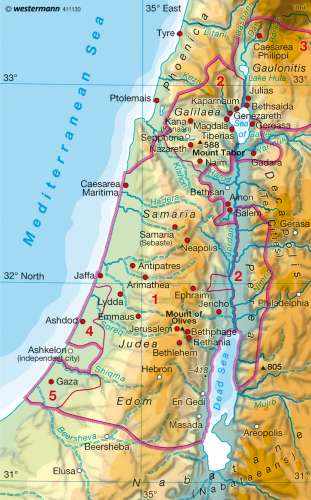 Maps Palestine In The Age Of Jesus Diercke International Atlas
