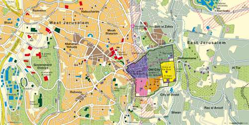 Maps Jerusalem Holy City For Three World Religions Diercke - Jerusalem map world