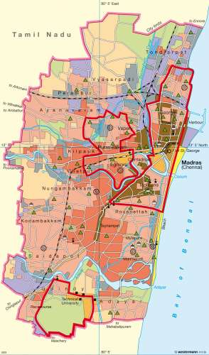 Diercke Karte Madras (Chennai)