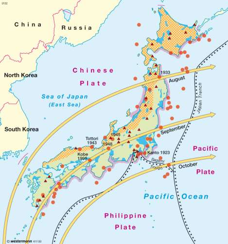 Maps Japan Natural risks Diercke International Atlas