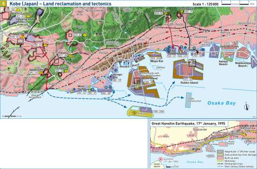 Maps Kobe Japan Land reclamation and tectonics Diercke