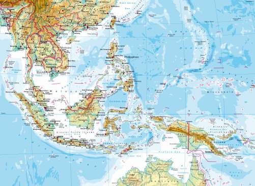 Physical Map Of Asia With Labels.Maps South East Asia Physical Map Diercke