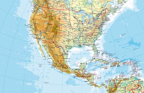 Maps United States and Central America Physical map Diercke