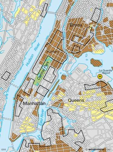 Maps - New York – Ethnic residential areas - Diercke International Atlas