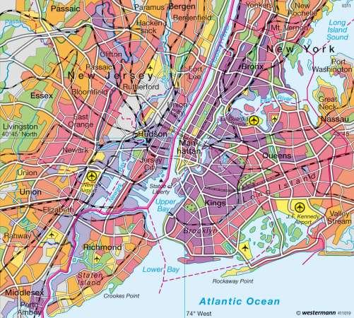 Maps  New York  Population Density  Diercke