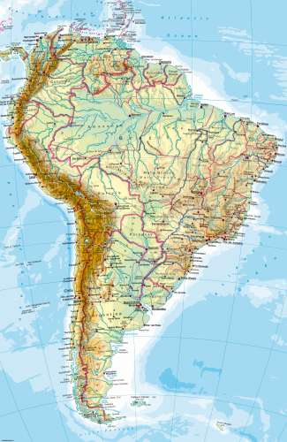 Maps South America Physical map Diercke International Atlas