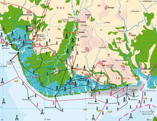 Maps - Niger Delta – Oil economy - Diercke International Atlas
