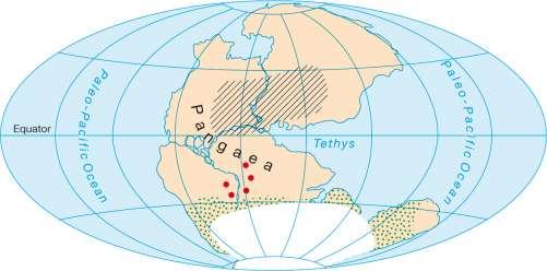 Diercke Karte Continents 250 million years ago