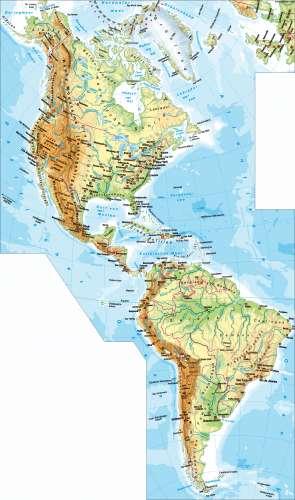 Physische Karte Lateinamerika.Diercke Weltatlas Kartenansicht Amerika Physische