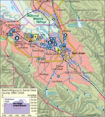 Silicon Valley Karte.Diercke Weltatlas Kartenansicht Silicon Valley Santa