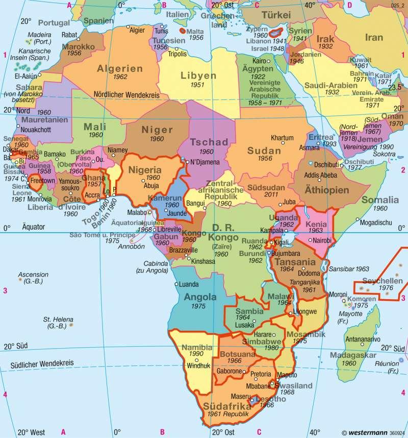 afrika länder karte Diercke Weltatlas   Kartenansicht   Afrika   Politische Übersicht
