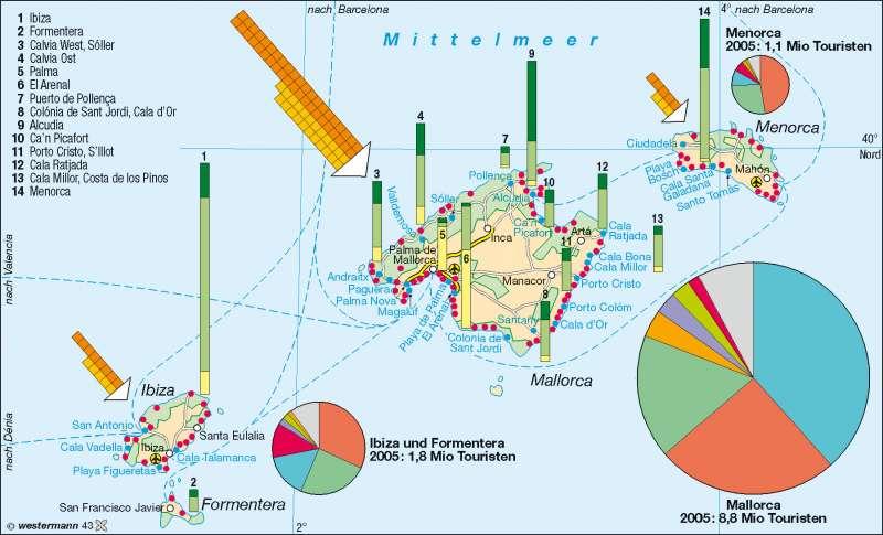 Mallorca Karte Paguera.Diercke Weltatlas Kartenansicht Balearen Tourismus 978 3 14