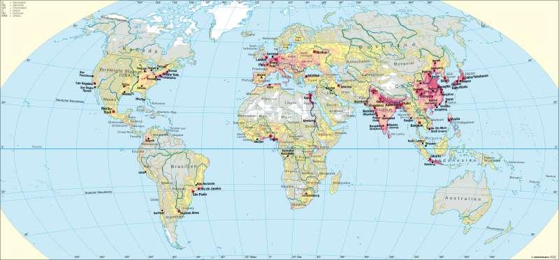 Bevölkerungsdichte/ -verteilung |  | Erde - Bevölkerung | Karte 252/2