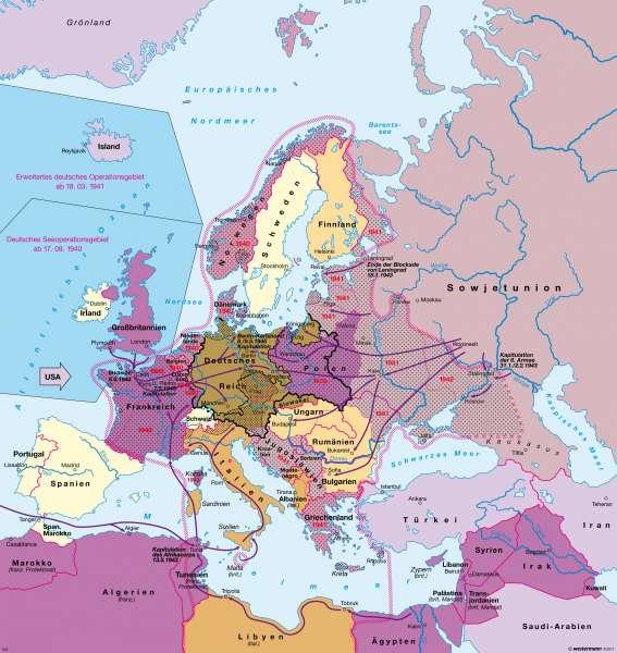 Deutschland im Europa des Zweiten Weltkrieges (1.9.1939 bis 8.5.1945) |  | Deutschland - Der Zweite Weltkrieg und seine Folgen | Karte 62/1