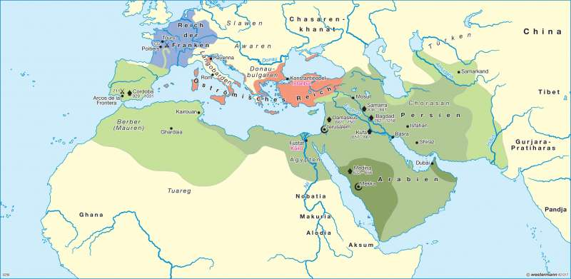 spread of islam 632 750 632-34: widespread tribal rebellion on the death of muhammad abu bakr, the  first  641: islam spreads into egypt  the umayyad family rules islam until 750.