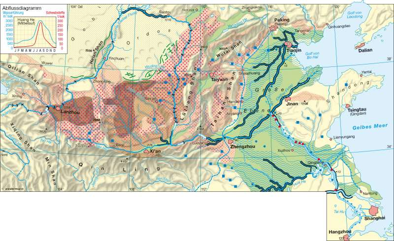 Diercke Weltatlas - Kartenansicht - Huang He - Erosion ...