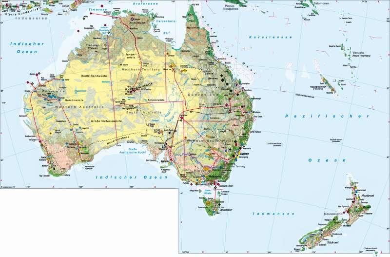 diercke weltatlas kartenansicht australien neuseeland wirtschaft 978 3 14 100700 8 186. Black Bedroom Furniture Sets. Home Design Ideas