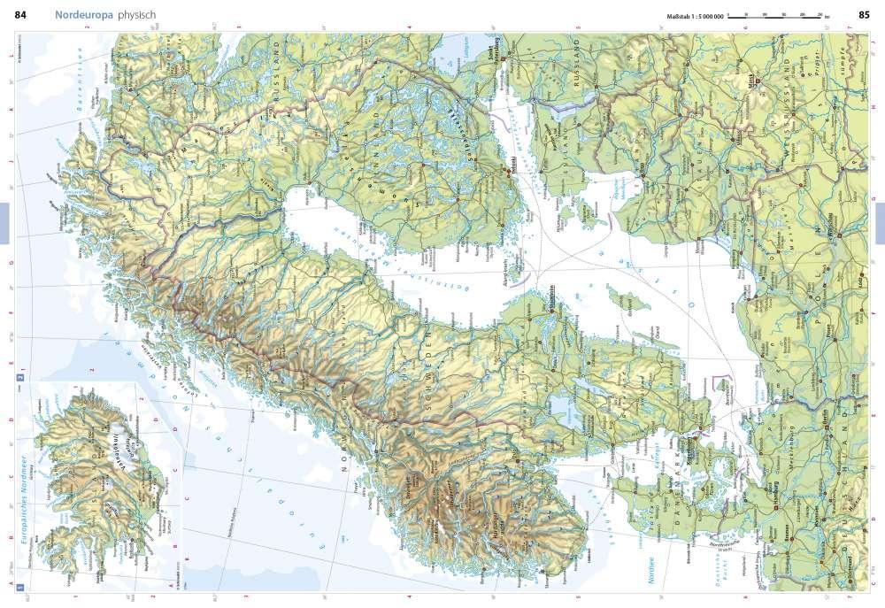 Karte Norwegen Dänemark.Physisch Nordeuropa Seydlitz Weltatlas Projekt Erde