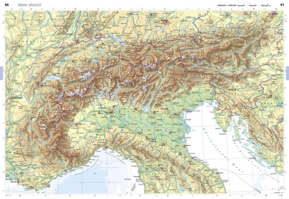 Alpenpässe Karte.Physisch Alpen Seydlitz Weltatlas Projekt Erde