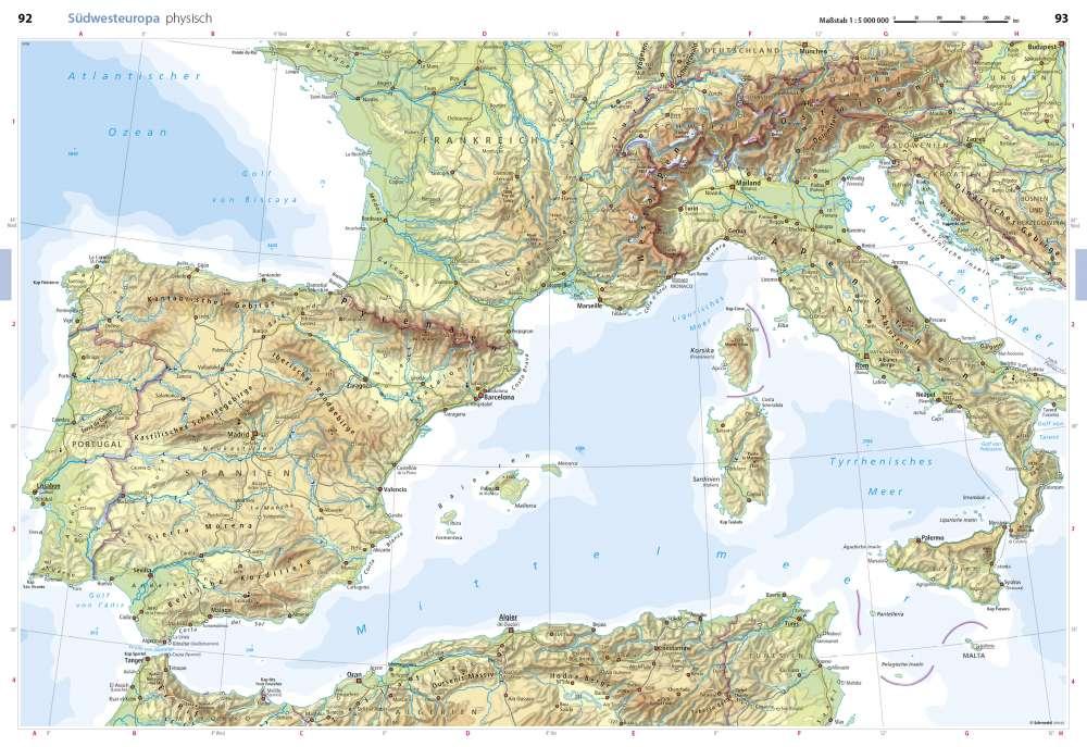 Karte Italien Frankreich.Physisch Südwesteuropa Seydlitz Weltatlas Projekt Erde