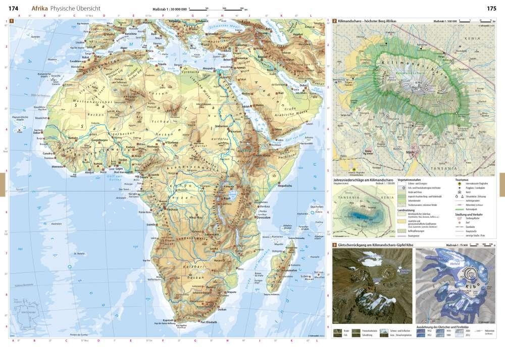 Physische Ubersicht Afrika Seydlitz Weltatlas Projekt Erde