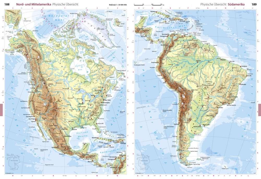 Physische Ubersicht Nord Und Mittelamerika Seydlitz Weltatlas