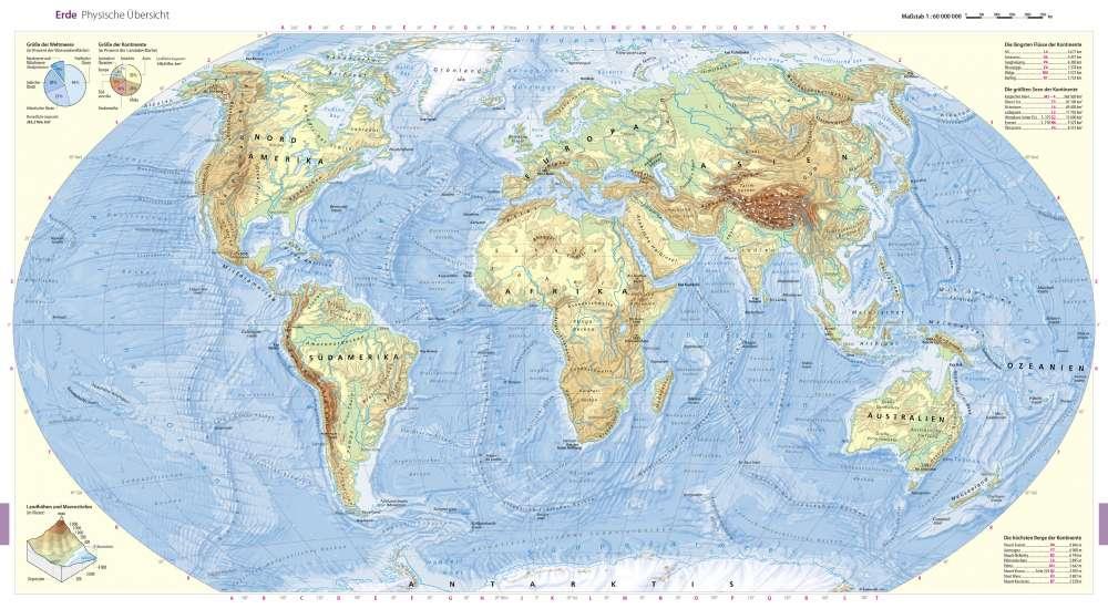 Karte Erde.Physische übersicht Erde Seydlitz Weltatlas Projekt Erde