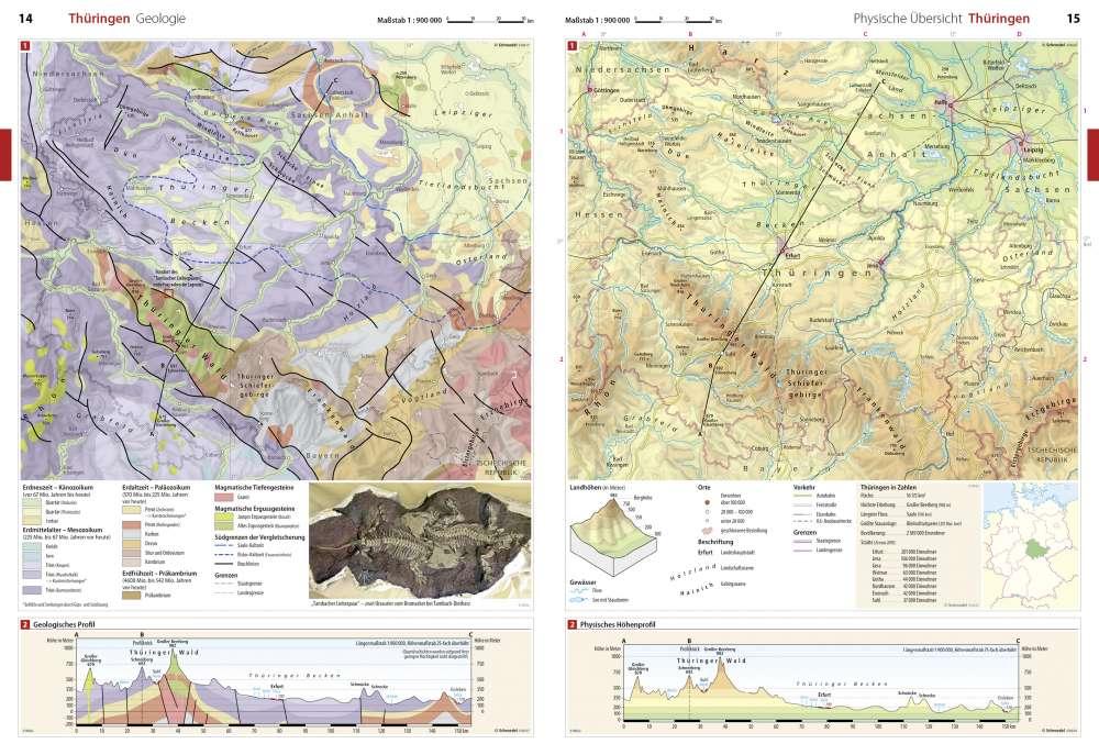 Geologische Karte Thüringen.Geologie Seydlitz Weltatlas Projekt Erde