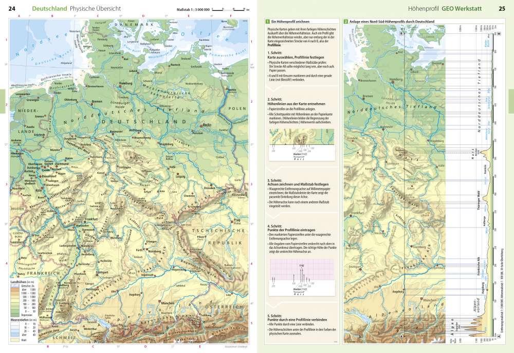 Physische Ubersicht Hohenprofil Deutschland Geo Werkstatt