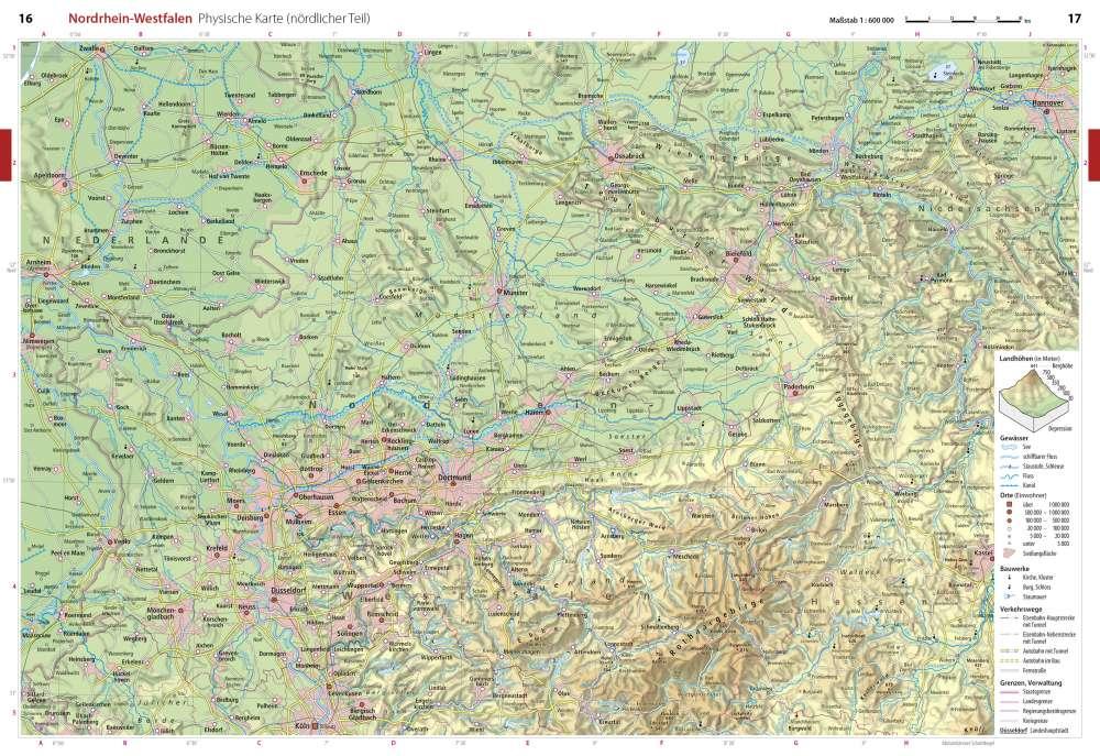 Topographische Karte Nrw.Physische Karte Nördlicher Teil Nordrhein Westfalen Seydlitz