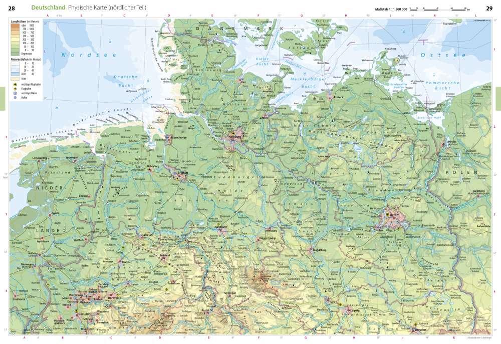 physische karte deutschland Physische Karte (nördlicher Teil)   Deutschland   Seydlitz  physische karte deutschland